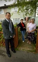 City council surveyor Nigel Archer, with residents Pauline Goodgame, Ian and Diana Anderson and Hilda Barney
