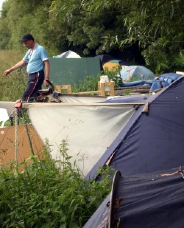 The camp at the side of the towpath in Osney
