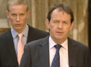 Kevin Whately, with co-star Laurence Fox during filming in Oxford