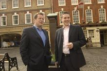 James McGee, right, meets people in Wantage Market Place with local MP Ed Vaizey