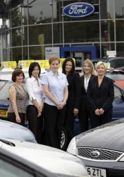 Hartwell Ford general manager Yvonne Cubbage, right, with colleagues, from left, Wendy Latimer, Manli Lau, Nicola Feltham, Carley Pope and Georgina Forbes