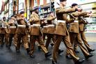Troops from Dalton Barracks march through Abingdon and take salute in Market Square