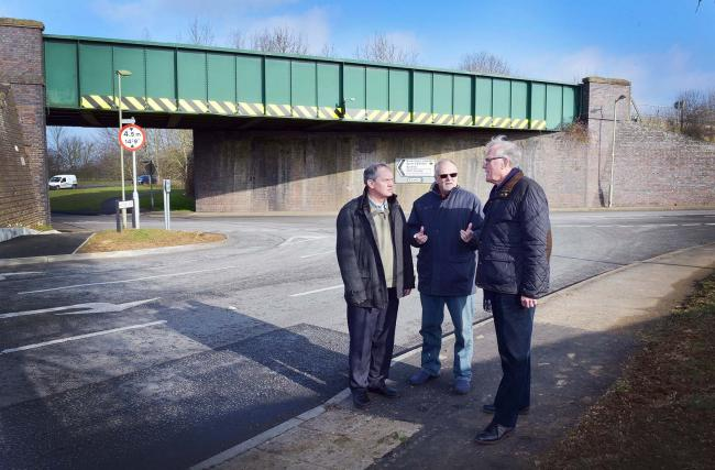 Bicester county councillors Les Sibley, Lawrie Stratford and Michael Waine at the junction  of Howes Lane and Bucknell Road.