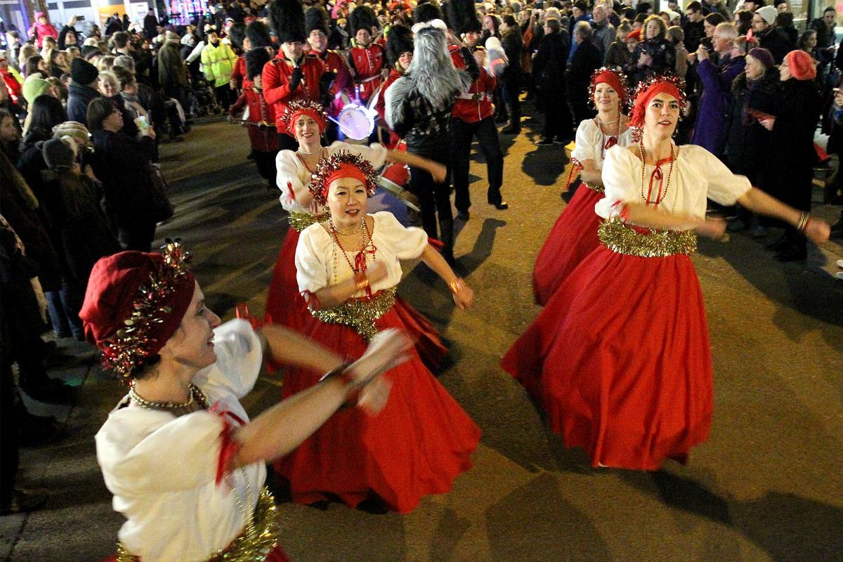 Dancers showing their Maracatu moves down Cornmarket Street.