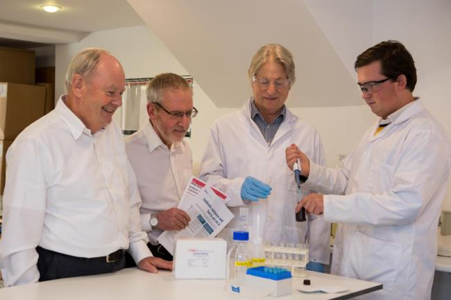 The GFC team, from left: chief executive Bruce Savage, technical director Dr Graham Cope, senior scientist Dr Graham Mock and scientist Alex Savage.