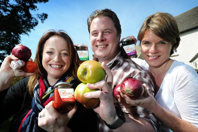 Laura Snook, left, with brother and sister John and Ashley Cavers. The team plan to rebrand to The Wonky Food Company and change the look of the packaging before it goes on Co-op shelves.Picture: Jon Lewis