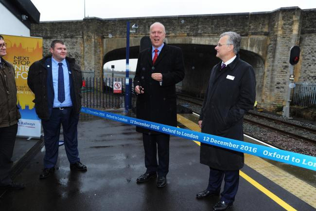 Transport Secretary Chris Grayling opening the new Oxford to London rail link in December. Picture Jon Lewis