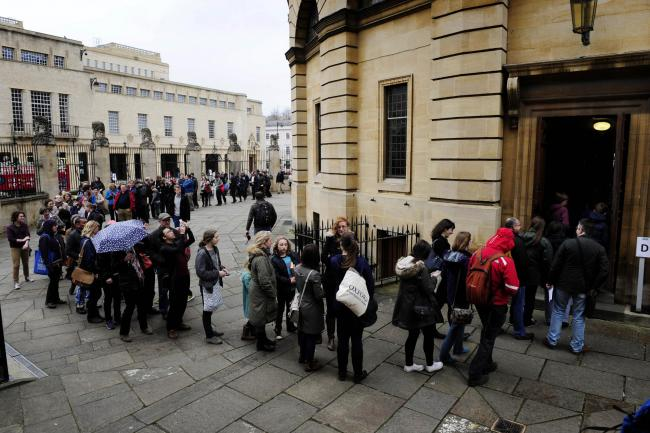Crowds queuing outside the Sheldonian Theatre for Oxford Literary Festival 2015