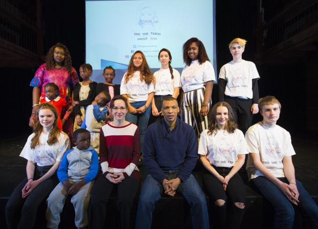 Kate Agha, centre left, of Oxford Against Cutting, with Stephen Fontaine, centre right, and young champions for the charity at the screening