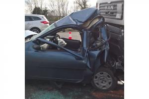 Damaged vehicles following Monday's pile-up on the A34