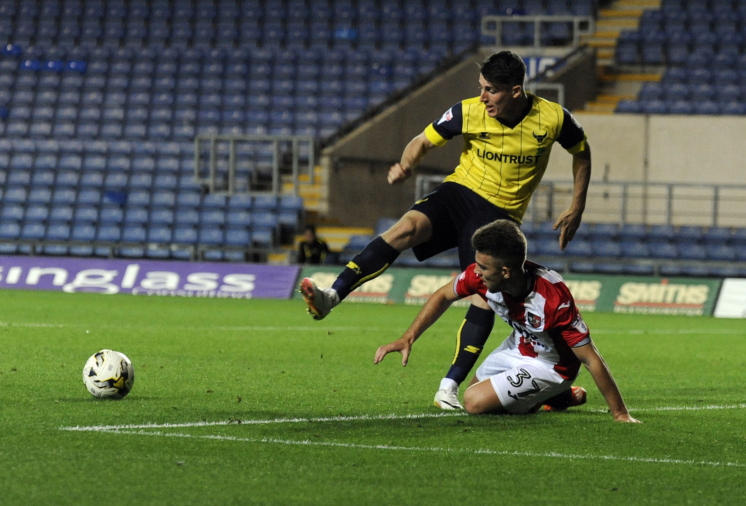 Oxford United's James Roberts, pictured in action against Exeter City in the Checkatrade Trophy in August, has joined Stalybridge Celtic on loan until the end of the season