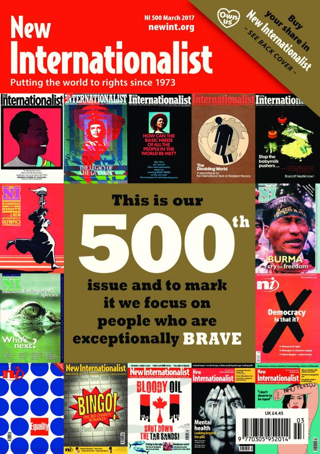 New Internationalist magazine's 500th edition front cover in March 2017