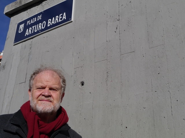 Oxford-born, Madrid-based journalist William Chislett pictured at the new Plaza de Arturo Barea in Madrid, named after BBC broadcaster Arturo Barea who lived at Buscot Park, Faringdon.