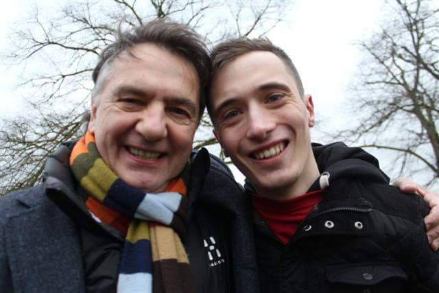 Play2Give's Andrew Baker with chef Raymond Blanc at the bitterly cold OX5 2013. Raymond was the official race starter.