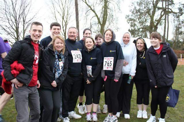 The University College Oxford team with Play2Give's Andrew Baker. Andrew was their inspiration to run in the Ox5 2013. Next to Andrew is Teresa Strike, fellow Play2Give team player.
