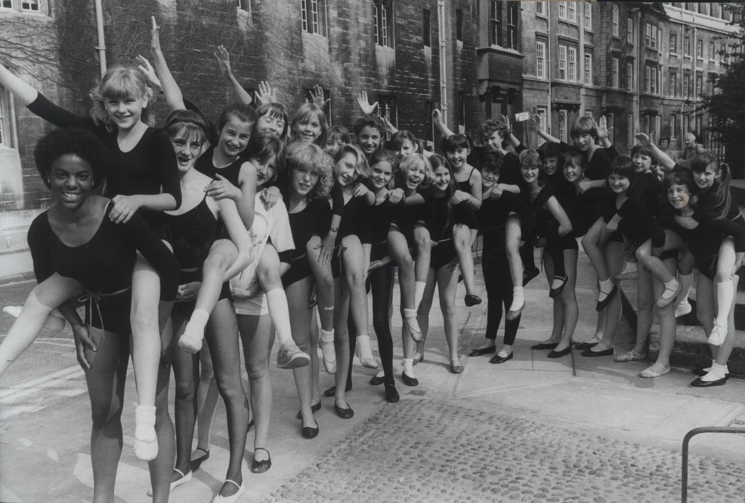 The girls of the Vera Legge Dancing School getting ready to appear at Oxford's Apollo Theatre in June 1984