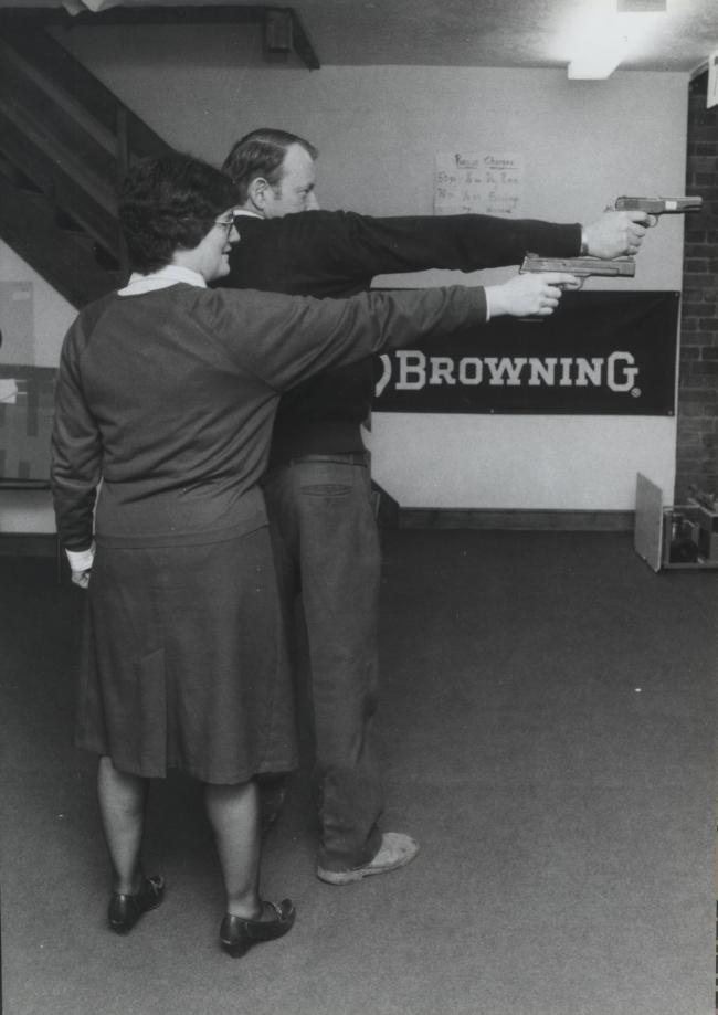 John and Ruth Binning picture at the opening of their new business Dunmore Shooting Centre in Abingdon in November 1986