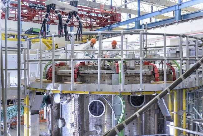 UK Atomic Energy Authority scientists working on the MAST Upgrade Tokamak fusion reactor at Culham Centre for Fusion Energy.