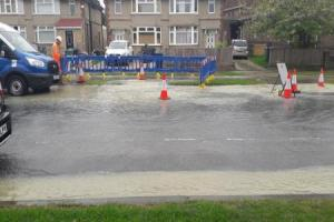 Burst water main causes problems into Oxford. Picture: Freda Hughes