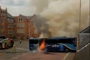 Bus station closed after coach bursts into flames