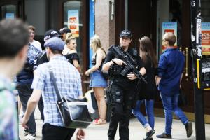 Another day sees armed police patrolling the Oxford City Centre after the attack in Manchester..25/05/2017.Picture by Ed Nix ..