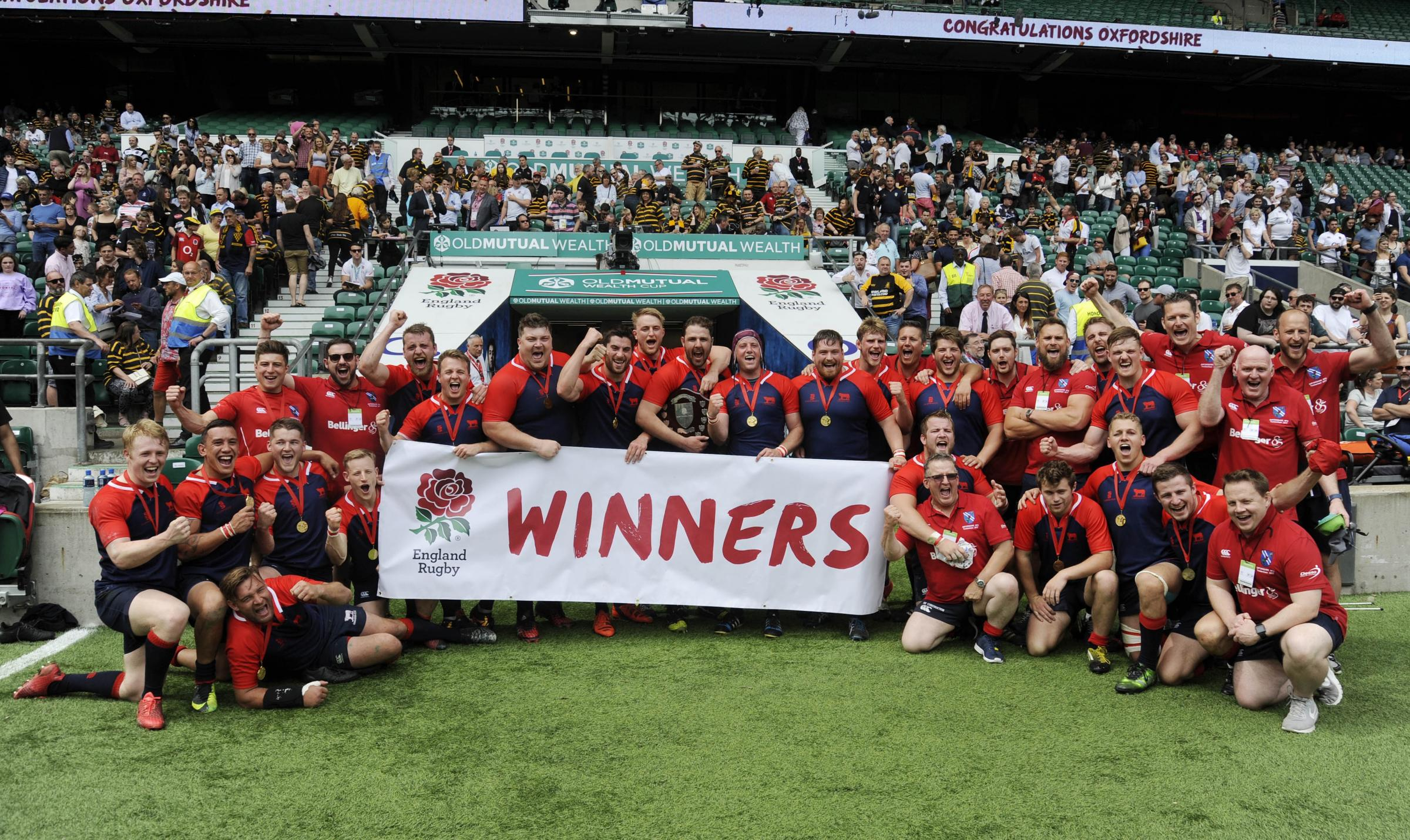 Oxfordshire celebrate at Twickenham after beating Sussex in the County Championship Plate final Picture: David Fleming