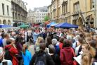 Big crowds gathered in Broad Street to listen to German choirs during the 70th anniversary celebrations of Oxford's twinning with Bonn. Picture: Ric Mellis