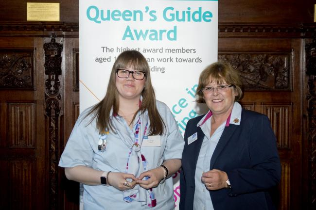 Zoe Wright and Deputy Chief Guide Sally Illsley at the ceremony at the House of Commons.