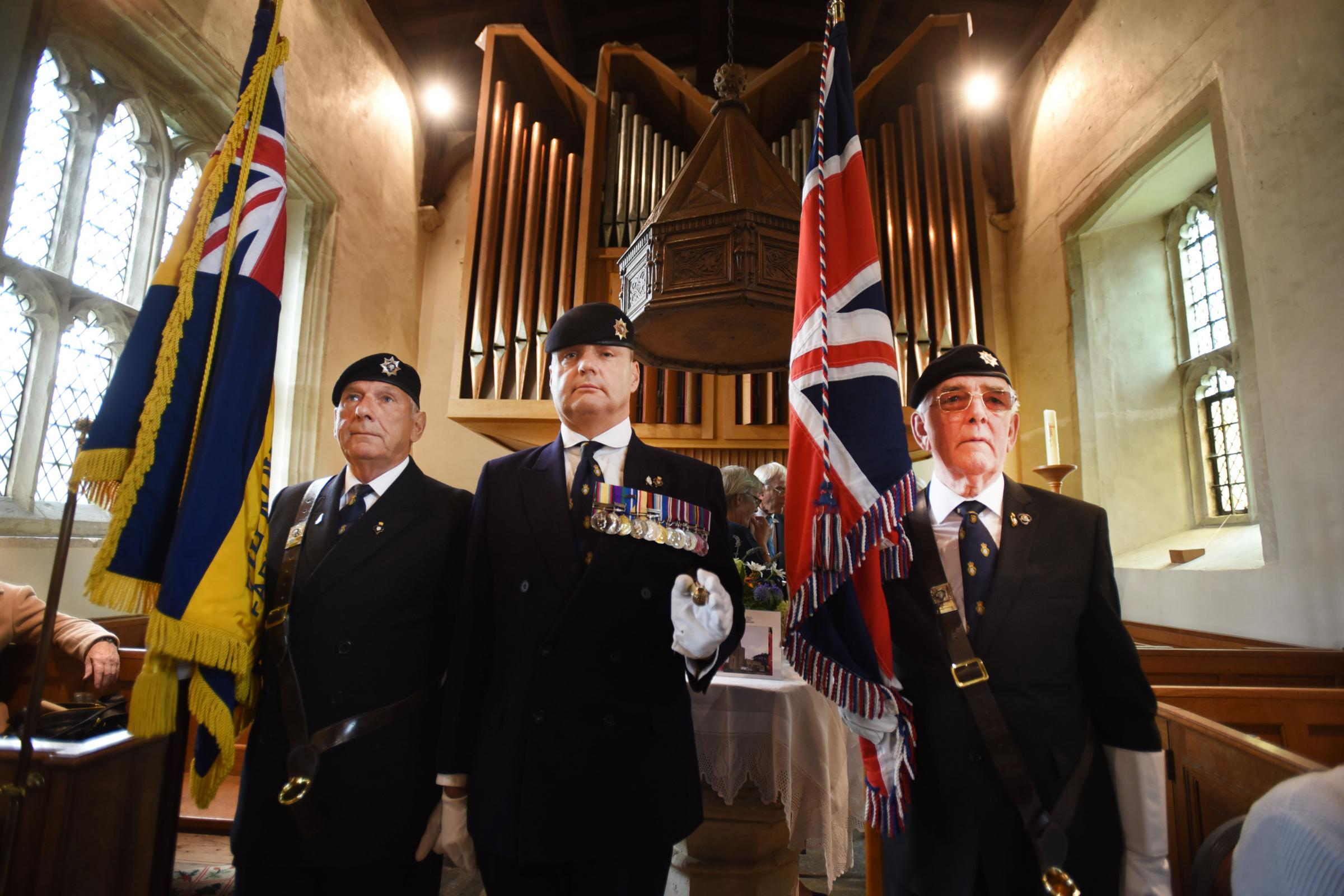 Members of the Royal British Legion Faringdon and District branch pay their respects to the fallen at Passchendaele in a ceremony at St Faith's Church, Shellingford. Picture Richard CAve
