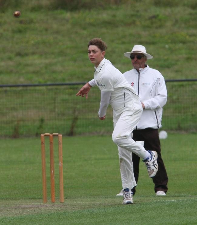 Spinner Joe Elliott in action during Oxfordshire under 14's washed-out game against Berkshire