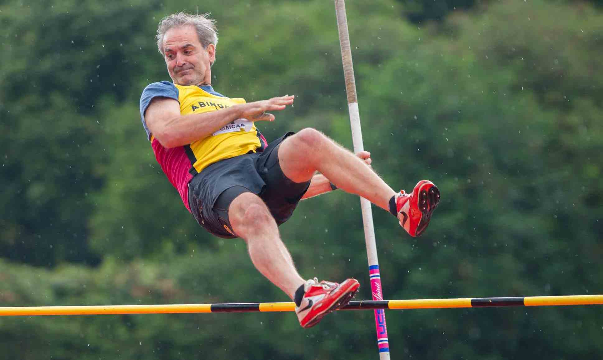 NEW HEIGHTS: Marc Juffkins clears the bar as he finishes third in the pole vault to help Abingdon win the final meet at Sutton Coldfield and clinch promotion to Division 2 of the Midland League Picture: John McNaughton