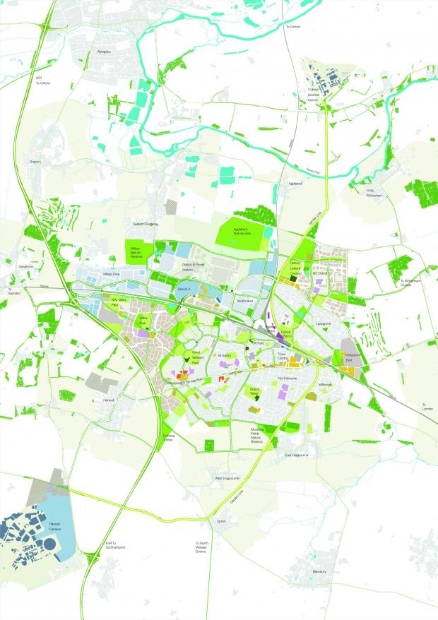 Oxford Mail: The map of Didcot Garden Town masterplan.