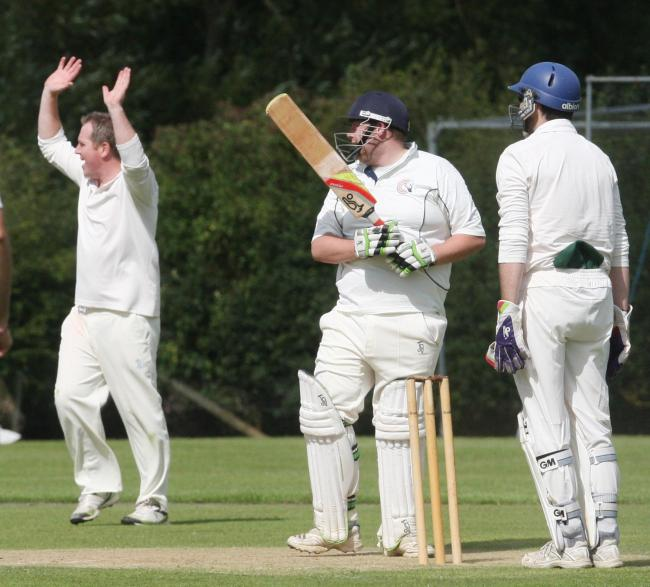 Charlbury captain Josh Hornsby is trapped lbw in his side's defeat by Faringdon Picture: Steve Wheeler
