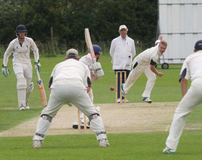 Bicester & North Oxford's Ryan Moore delivers to Westbury batsman Olly Tice in their drawn Division 3 game Picture Steve Wheeler