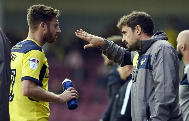 GOOD TO TALK: James Henry and Pep Clotet discuss tactics earlier this season Picture: David Fleming