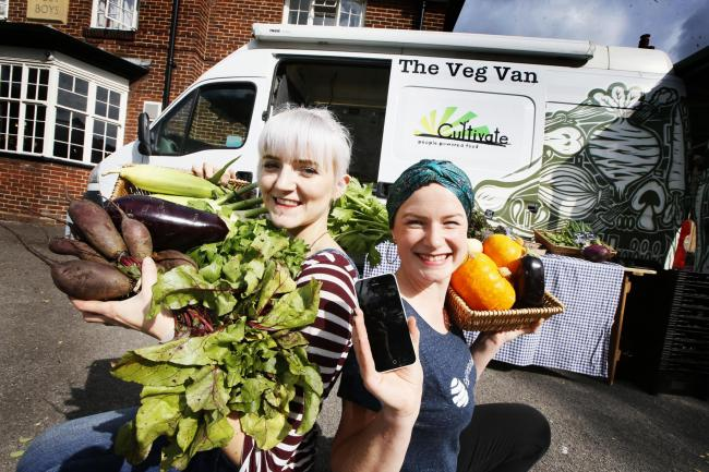 Feast your eyes on this: Fair Food Forager content manager Dayna Ortner, right, and Katie Herring from the Cultivate veg van on the left. Picture: Ed Nix