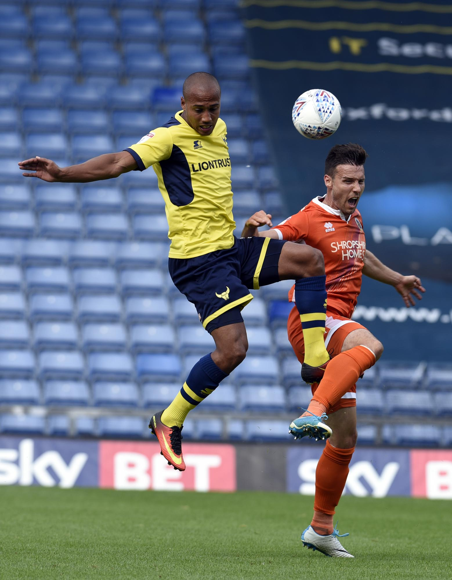 Oxford United's Gino van Kessel battles for the ball against Shrewsbury Town Picture: David Fleming