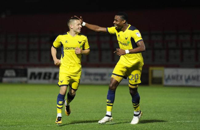 Jack Payne (left) celebrates his goal with Jon Obika