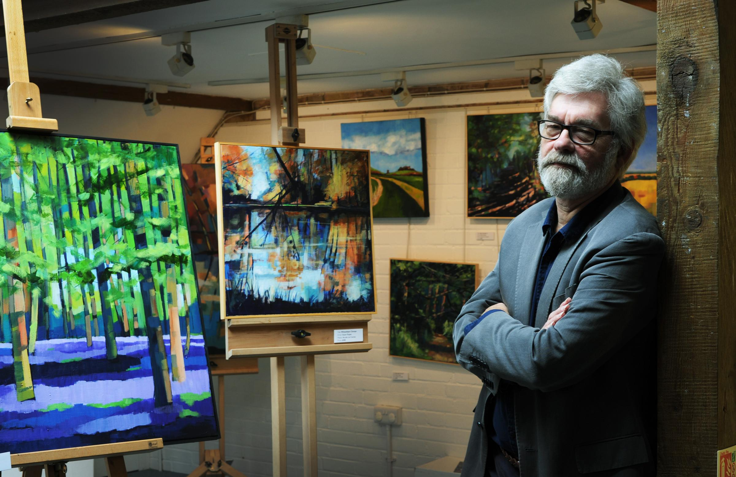 Stuart Roper exhibiting his paintings at The Vale & Downland Museum, Wantage. Picture: Jon Lewis