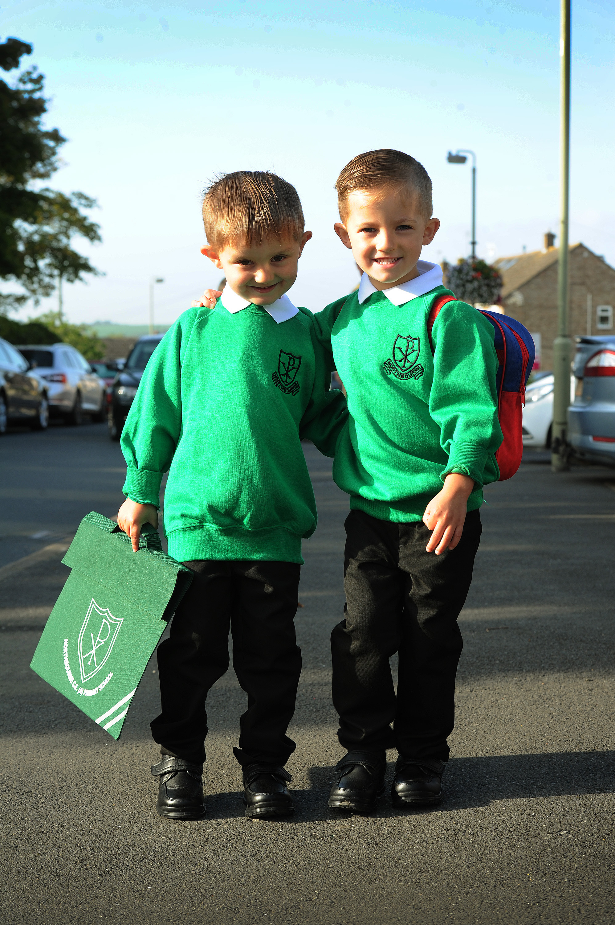 Twins Connor, left and Austin Tritton on their first day at Northbourne Primary School, Didcot