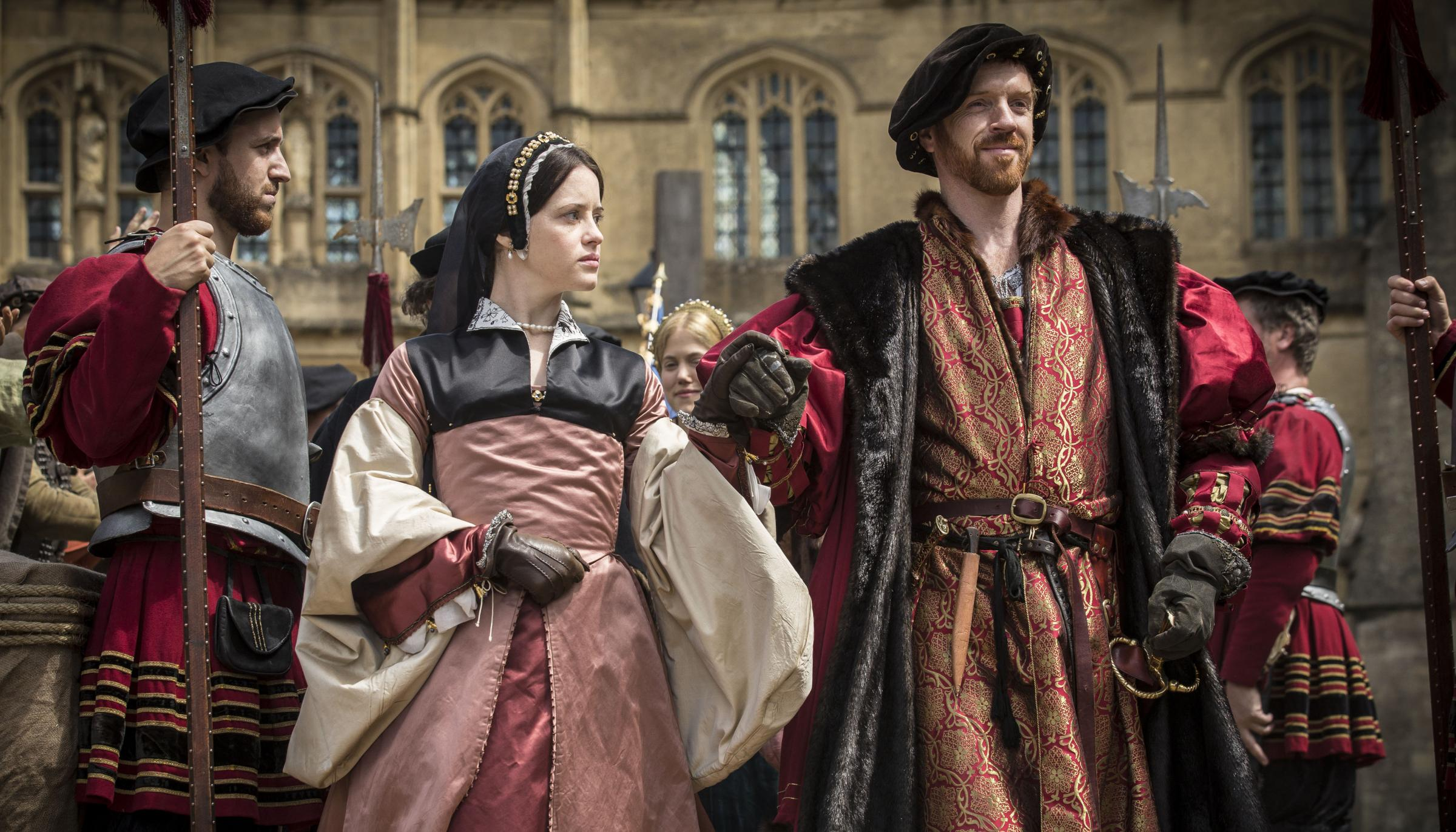 Claire Foy as Anne Boleyn with Damian Lewis in Wolf Hall. Picture Ed Miller