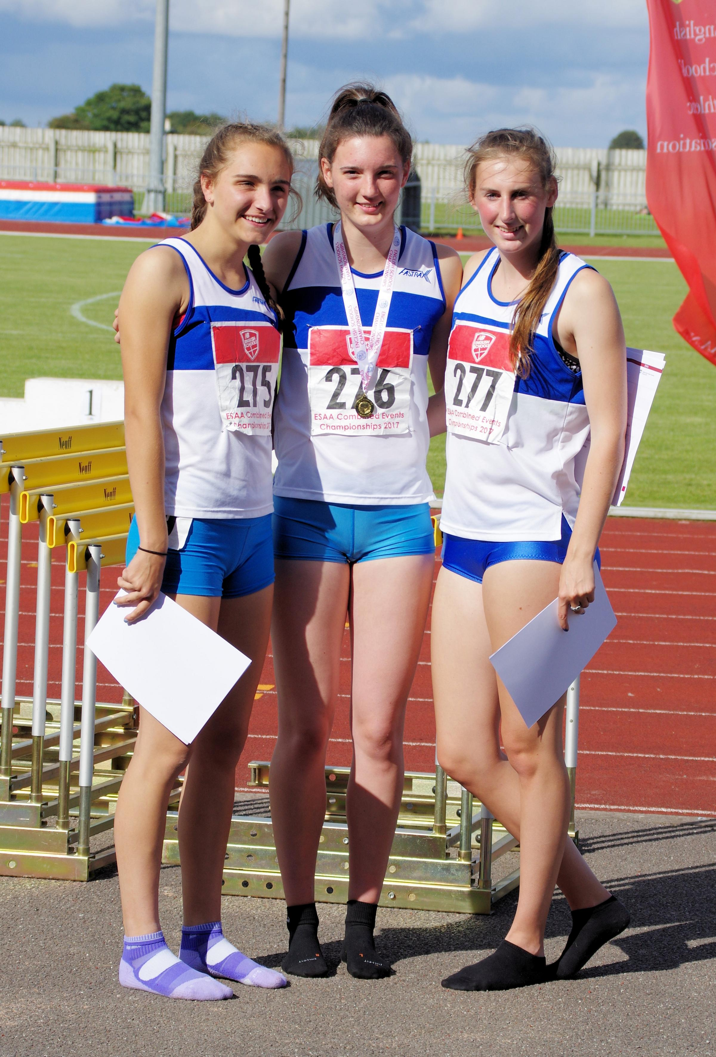 DELIGHT: Oxfordshire's athletes celebrate winning team silver at the English Schools' Combined Events Championships. From left: Katie Hetherington, Jade O'Dowda, Rebecca Scott Picture: Ian Marriott