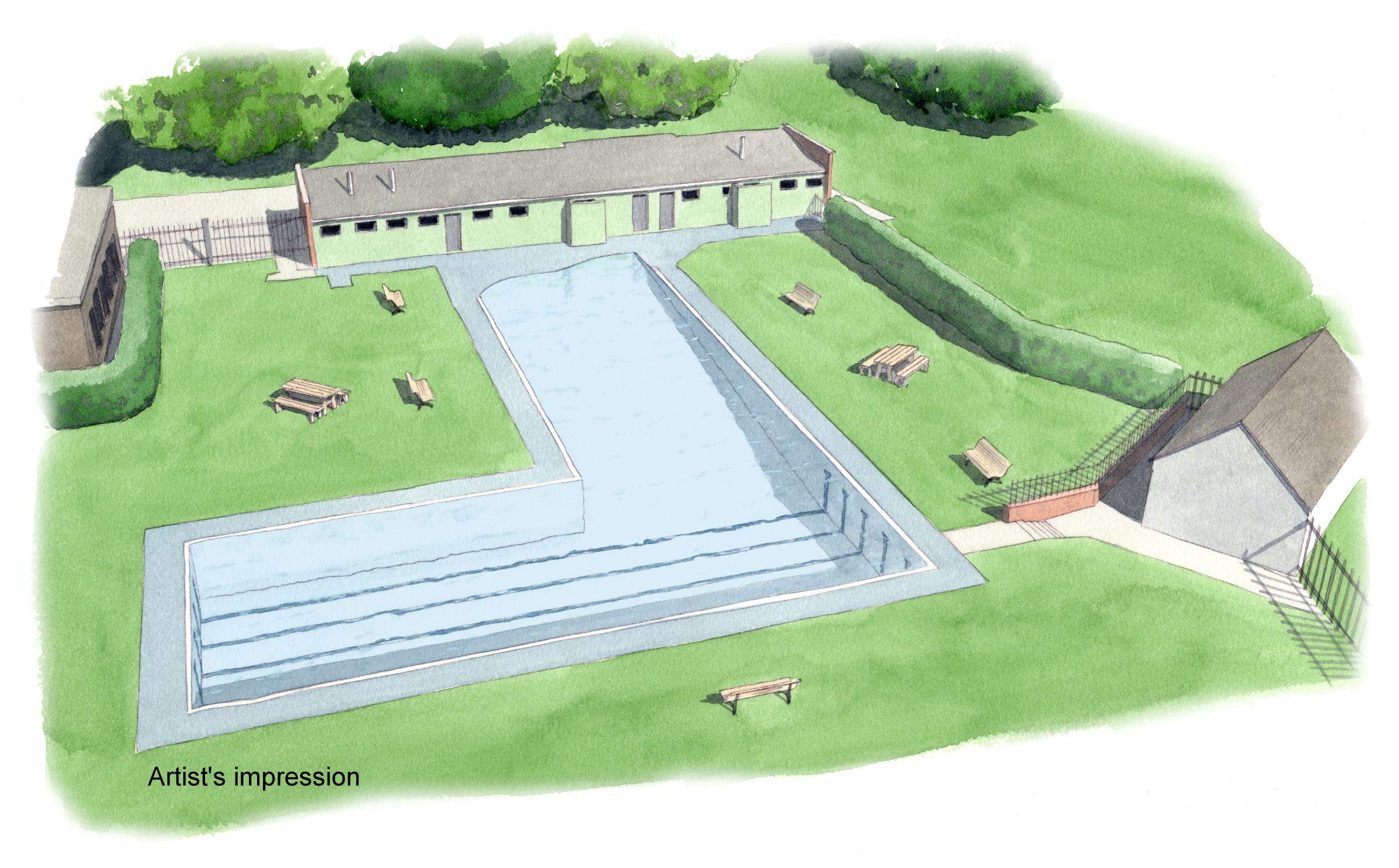 Artist impression of the Abbey Meadow Pool refurbishment.