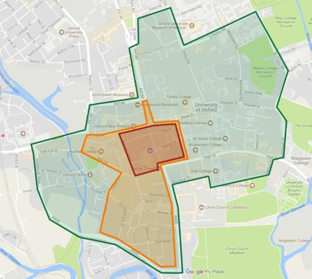 Oxford Mail: A map showing where Oxford City Council and Oxfordshire County Council plan to create the city's zero emissions zone