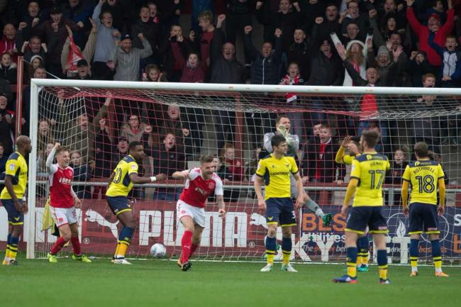 Oxford United's players react to Bobby Grant's 88th-minute opener  Picture: James Williamson