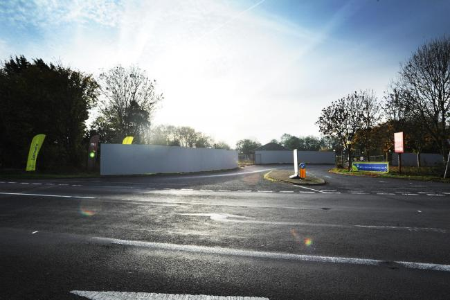 Hoardings have gone up around the former diner at Buckland Services where Soho House is planning build its new motel. Picture: Jon Lewis.