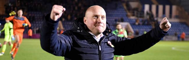 SENSATIONAL: Oxford City boss Mark Jones celebrates his side's victory at the final whistlePictures: Mike Allen