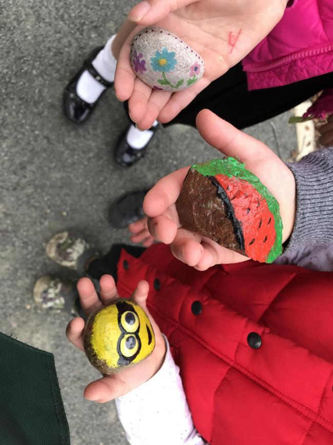 We love our rock community here at Heyford Park, Upper Heyford! Lots of children and adults have got involved painting and hiding rocks. We have our village rock group on Facebook and it's great fun.