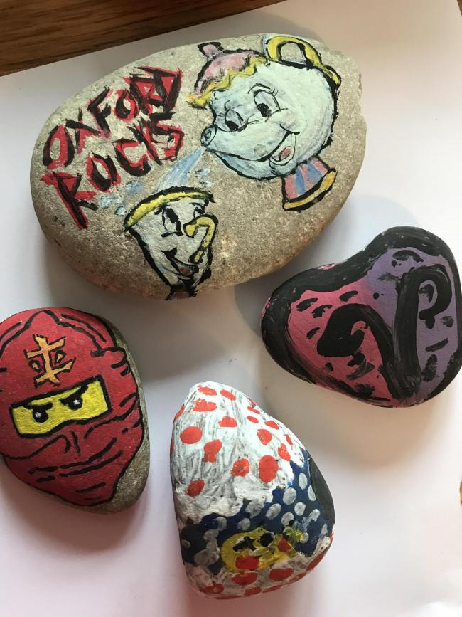 Contributions to Oxford Rocks hidden in the Blackbird Leys area. Taite aged 8 and her mum Gina.
