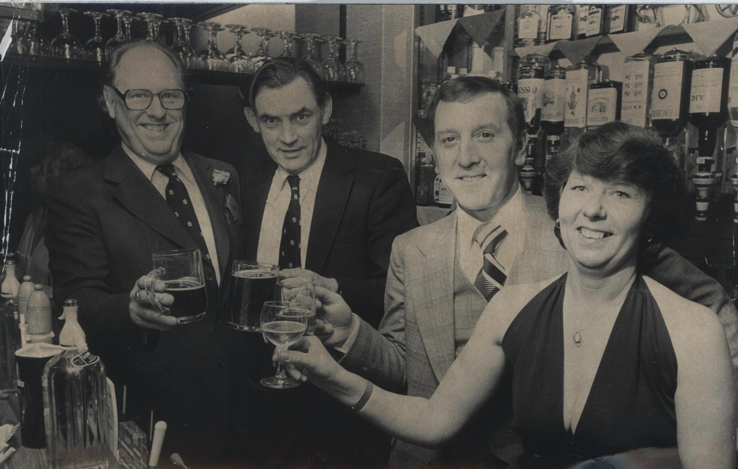 Toasting the reopening of The Carpenters in Botley were (from left) tied trade manager Tom Hall, managing director Tony Worth, landlord Don Bell and landlady Olga Bell